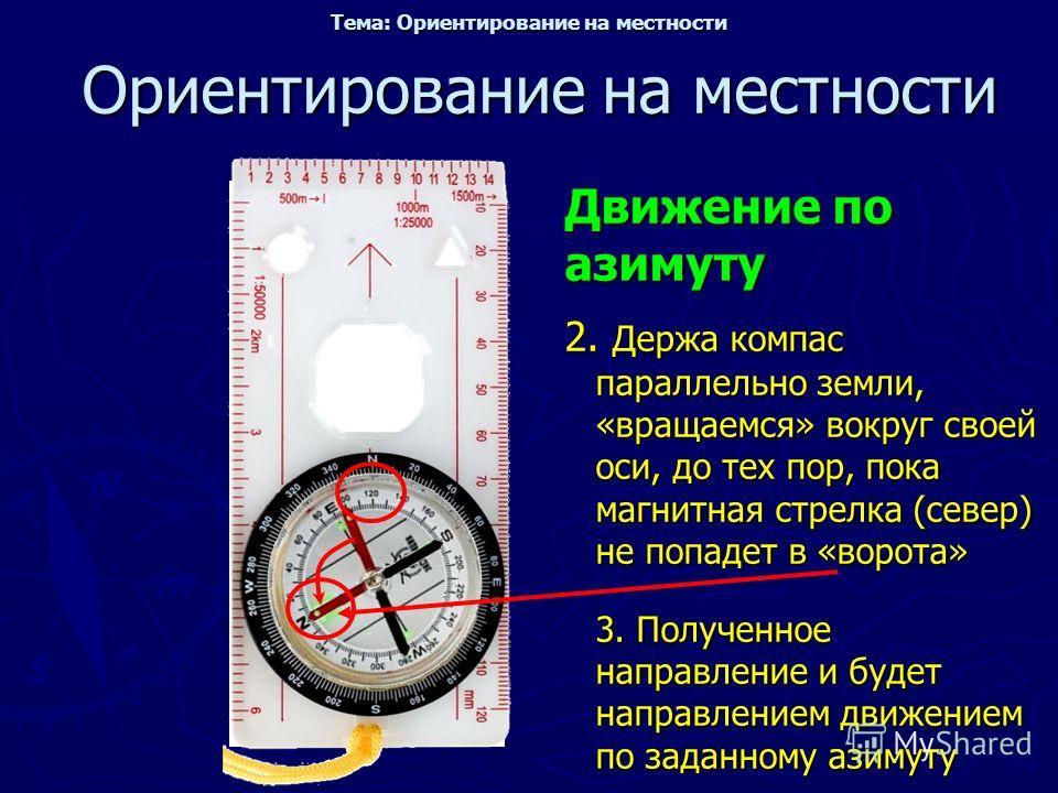 Ориентирование на местности Движение по азимуту 2. Держа компас параллельно земли, «вращаемся» вокруг своей оси, до тех пор, пока магнитная стрелка (север) не попадет в «ворота» 3. Полученное направление и будет направлением движением по заданному аз