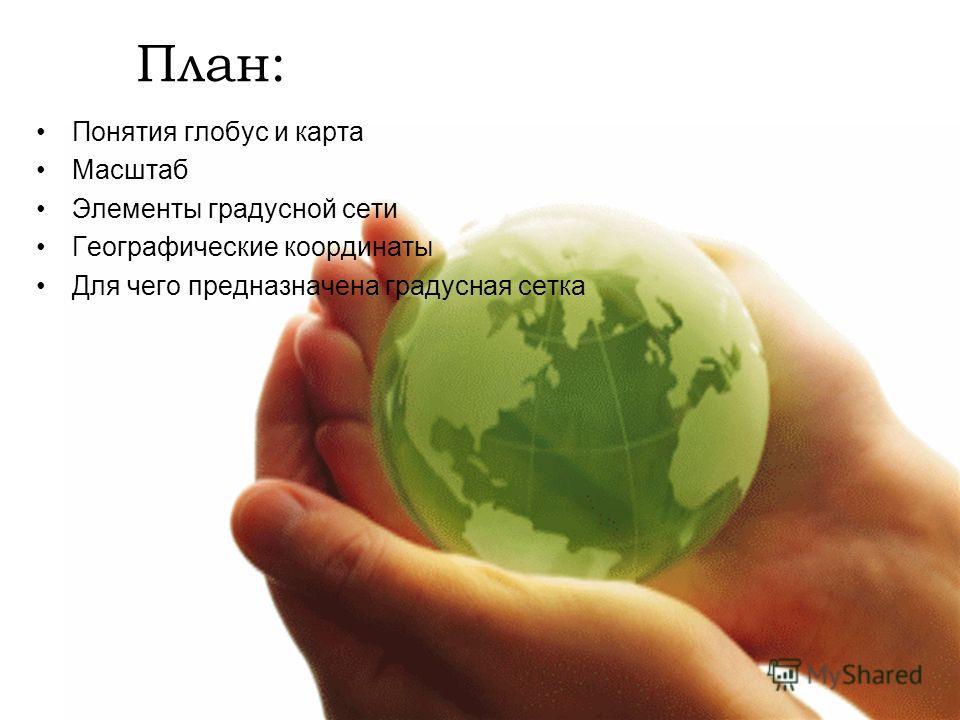 План: Понятия глобус и карта Масштаб Элементы градусной сети Географические координаты Для чего предназначена градусная сетка