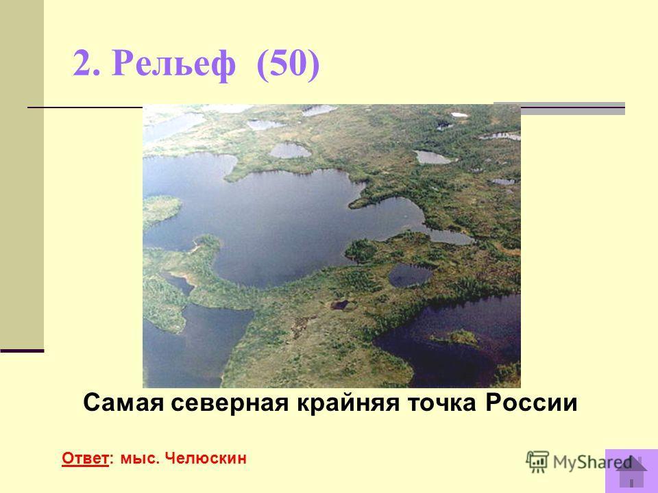 2. Рельеф (50) Самая северная крайняя точка России Ответ: мыс. Челюскин