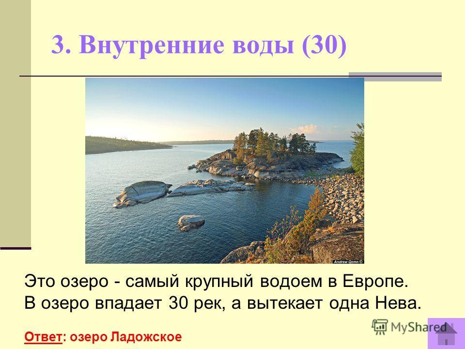 3. Внутренние воды (30) Это озеро - самый крупный водоем в Европе. В озеро впадает 30 рек, а вытекает одна Нева. Ответ: озеро Ладожское