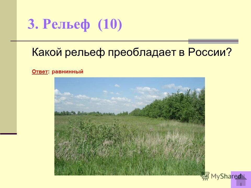 3. Рельеф (10) Какой рельеф преобладает в России? Ответ: равнинный