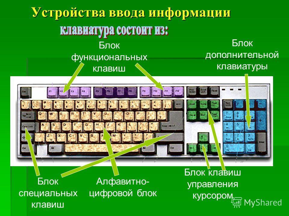 Алфавитно- цифровой блок Блок функциональных клавиш Блок клавиш управления курсором Блок дополнительной клавиатуры Блок специальных клавиш