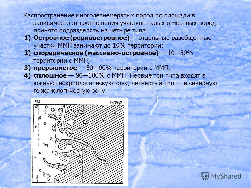 Распространение многолетнемерзлых пород по площади в зависимости от соотношения участков талых и мерзлых пород принято подразделять на четыре типа: 1)Островное (редкоостровное) отдельные разобщенные участки ММП занимают до 10% территории; 2)спорадиче
