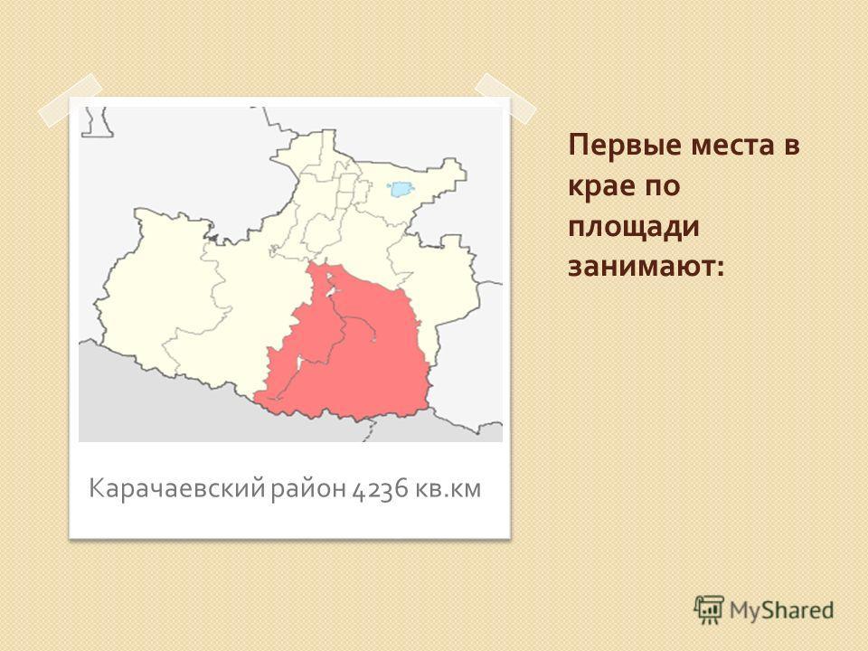 Первые места в крае по площади занимают : Карачаевский район 4236 кв. км