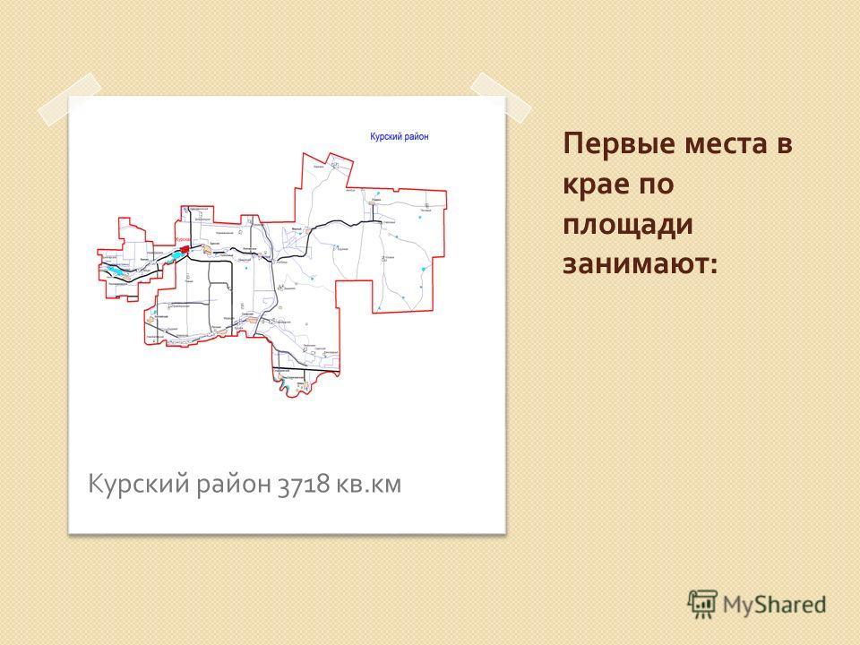 Первые места в крае по площади занимают : Курский район 3718 кв. км