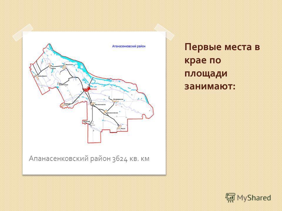 Первые места в крае по площади занимают : Апанасенковский район 3624 кв. км