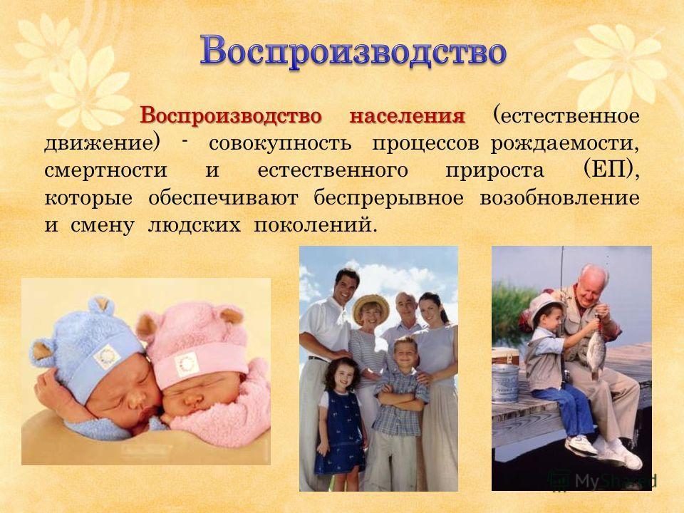 Воспроизводство населения Воспроизводство населения (естественное движение) - совокупность процессов рождаемости, смертности и естественного прироста (ЕП), которые обеспечивают беспрерывное возобновление и смену людских поколений.