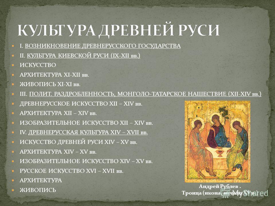 I. ВОЗНИКНОВЕНИЕ ДРЕВНЕРУССКОГО ГОСУДАРСТВА II. КУЛЬТУРА КИЕВСКОЙ РУСИ (IX-XII вв.) ИСКУССТВО АРХИТЕКТУРА XI-XII вв. ЖИВОПИСЬ XI-XI вв. III. ПОЛИТ. РАЗДРОБЛЕННОСТЬ, МОНГОЛО-ТАТАРСКОЕ НАШЕСТВИЕ (XII-XIV вв.) ДРЕВНЕРУССКОЕ ИСКУССТВО XII – XIV вв. АРХИТ