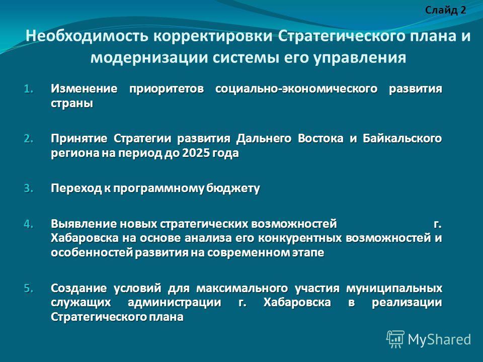 Необходимость корректировки Стратегического плана и модернизации системы его управления 1. Изменение приоритетов социально-экономического развития страны 2. Принятие Стратегии развития Дальнего Востока и Байкальского региона на период до 2025 года 3.