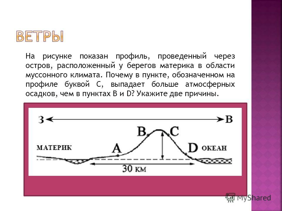 На рисунке показан профиль, проведенный через остров, расположенный у берегов материка в области муссонного климата. Почему в пункте, обозначенном на профиле буквой C, выпадает больше атмосферных осадков, чем в пунктах В и D? Укажите две причины.