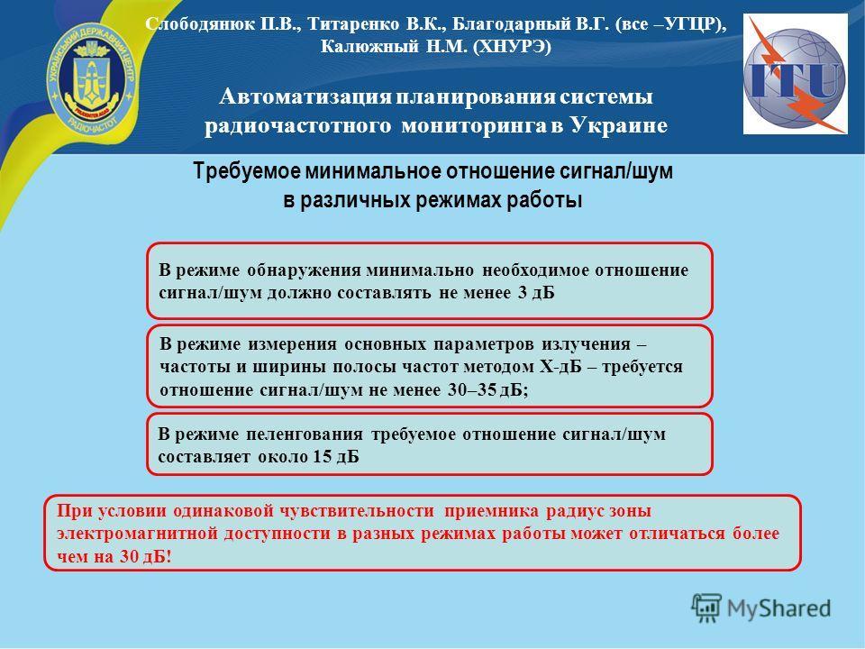 Слободянюк П.В., Титаренко В.К., Благодарный В.Г. (все –УГЦР), Калюжный Н.М. (ХНУРЭ) Автоматизация планирования системы радиочастотного мониторинга в Украине В режиме обнаружения минимально необходимое отношение сигнал/шум должно составлять не менее