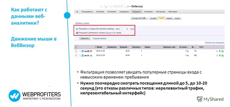 Как работают с данными веб- аналитики? Движение мыши в Веб Визор Фильтрация позволяет увидеть популярные страницы входа с невысоким временем пребывания Нужно поочередно смотреть посещения длиной до 5, до 10-20 секунд (это отказы различных типов: нере