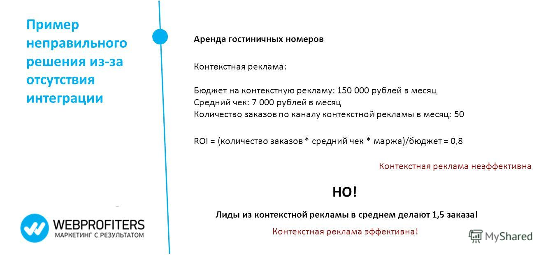 Пример неправильного решения из-за отсутствия интеграции Аренда гостиничных номеров Контекстная реклама: Бюджет на контекстную рекламу: 150 000 рублей в месяц Средний чек: 7 000 рублей в месяц Количество заказов по каналу контекстной рекламы в месяц: