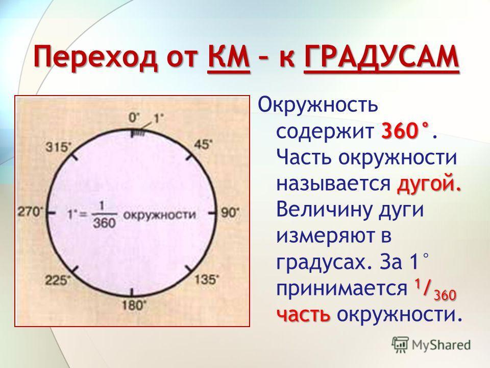 Переход от КМ – к ГРАДУСАМ 360° дугой. 1 / 360 часть Окружность содержит 360°. Часть окружности называется дугой. Величину дуги измеряют в градусах. За 1° принимается 1 / 360 часть окружности.