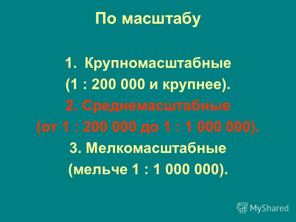 По масштабу 1. Крупномасштабные (1 : 200 000 и крупнее). 2. Среднемасштабные (от 1 : 200 000 до 1 : 1 000 000). 3. Мелкомасштабные (мельче 1 : 1 000 000).