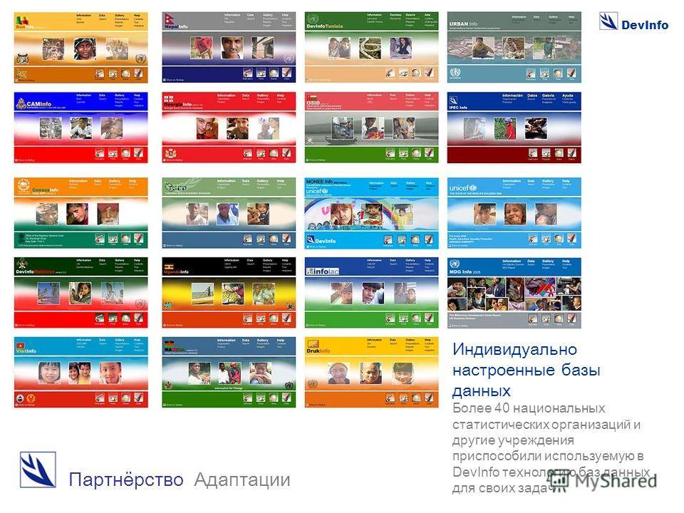 DevInfo Партнёрство Адаптации Индивидуально настроенные базы данных Более 40 национальных статистических организаций и другие учреждения приспособили используемую в DevInfo технологию баз данных для своих задач