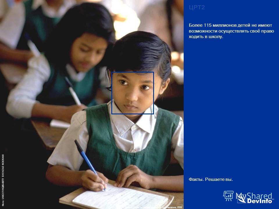 DevInfo Фото: UNICEF/HQ95-0977/ SHEHZAD NOORANI Факты. Решаете вы. Более 115 миллионов детей не имеют возможности осуществлять своё право ходить в школу. ЦРТ2 Источник: Отчёт по целям развития тысячелетие, 2005