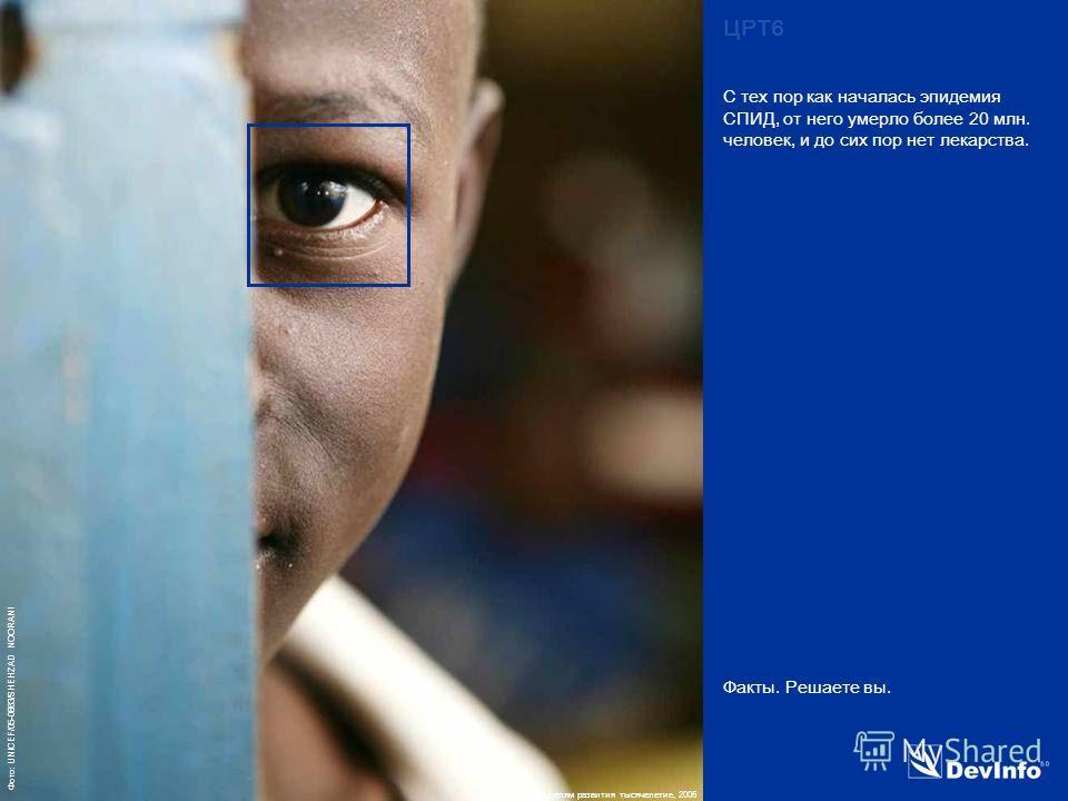 DevInfo Фото: UNICEF/05-0863/SHEHZAD NOORANI Факты. Решаете вы. С тех пор как началась эпидемия СПИД, от него умерло более 20 млн. человек, и до сих пор нет лекарства. ЦРТ6 Источник: Отчёт по целям развития тысячелетие, 2005