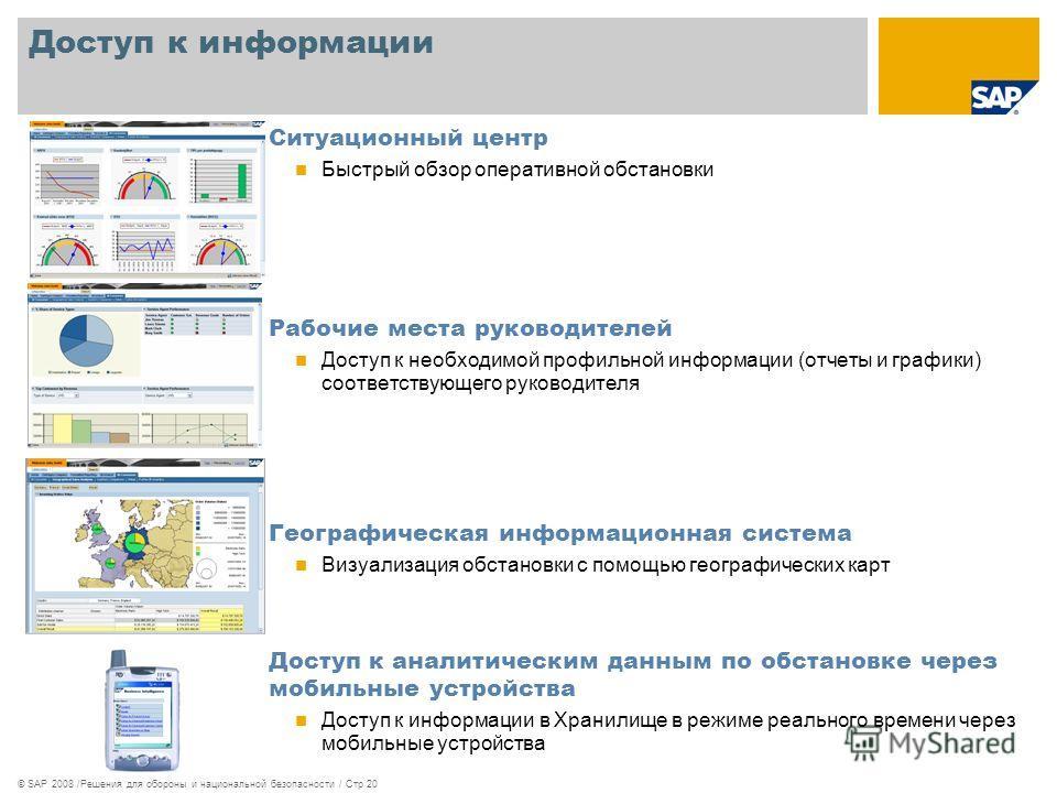 © SAP 2008 /Решения для обороны и национальной безопасности / Стр 20 Доступ к информации Ситуационный центр Быстрый обзор оперативной обстановки Рабочие места руководителей Доступ к необходимой профильной информации (отчеты и графики) соответствующег