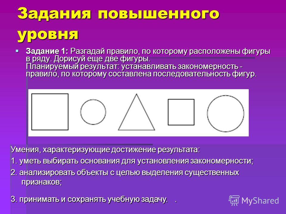 Задания повышенного уровня Задания повышенного уровня Задание 1: Разгадай правило, по которому расположены фигуры в ряду. Дорисуй еще две фигуры. Планируемый результат: устанавливать закономерность - правило, по которому составлена последовательность