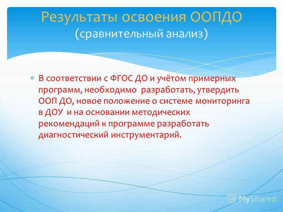 В соответствии с ФГОС ДО и учётом примерных программ, необходимо разработать, утвердить ООП ДО, новое положение о системе мониторинга в ДОУ и на основании методических рекомендаций к программе разработать диагностический инструментарий. Результаты ос