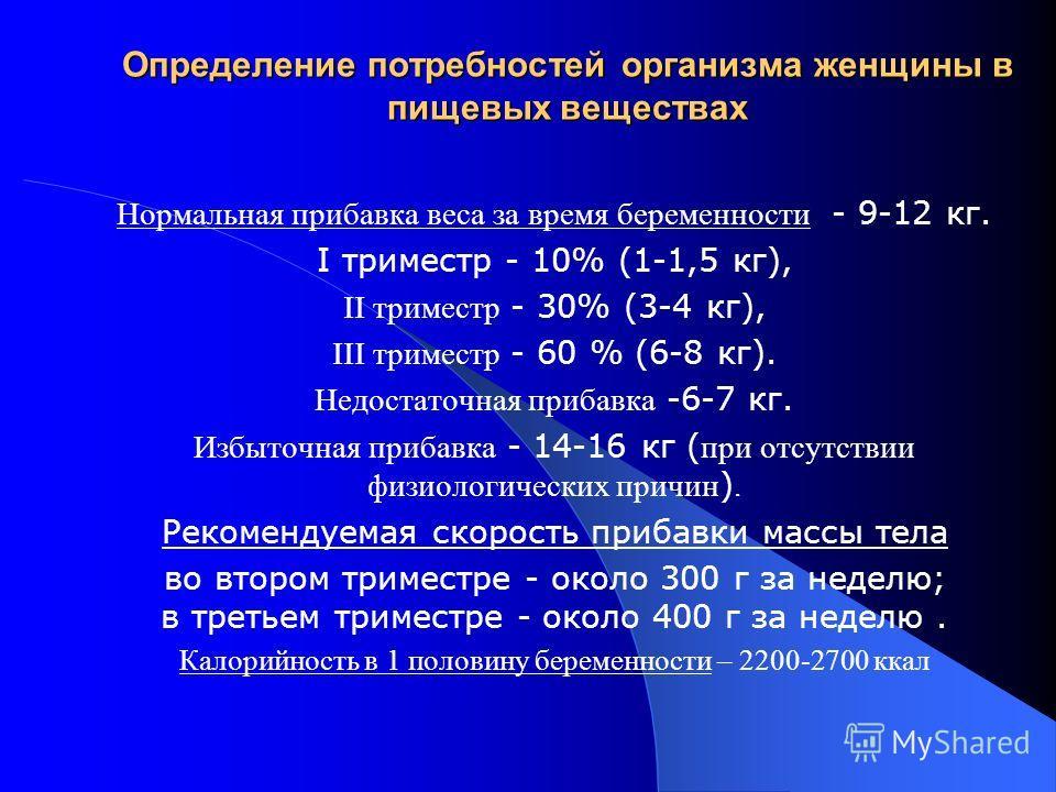 Определение потребностей организма женщины в пищевых веществах Нормальная прибавка веса за время беременности - 9-12 кг. I триместр - 10% (1-1,5 кг), II триместр - 30% (3-4 кг), III триместр - 60 % (6-8 кг). Недостаточная прибавка -6-7 кг. Избыточная