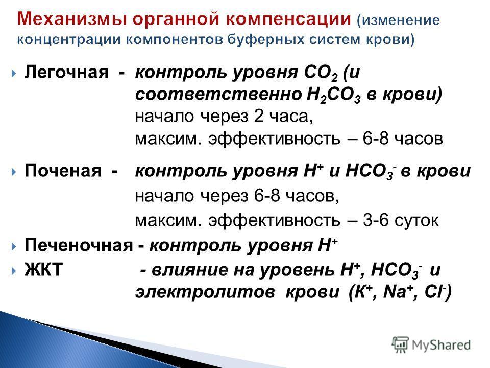 Легочная -контроль уровня СО 2 (и соответственно Н 2 СО 3 в крови) начало через 2 часа, максим. эффективность – 6-8 часов Поченая -контроль уровня Н + и НСО 3 - в крови начало через 6-8 часов, максим. эффективность – 3-6 суток Печеночная - контроль у