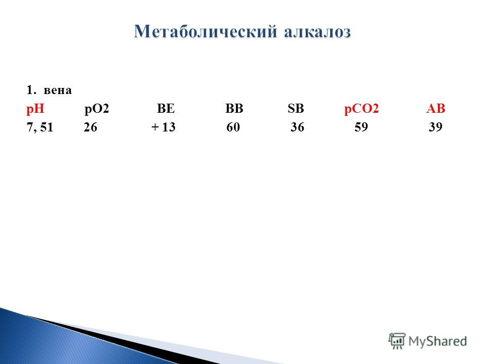 1. вена рН рО2 ВЕ ВВ SВ рСО2 АВ 7, 51 26 + 13 60 36 59 39