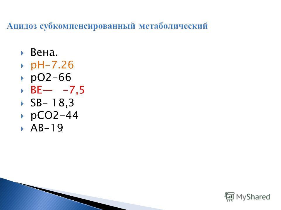 Вена. рН-7.26 рО2-66 ВЕ -7,5 SВ- 18,3 рСО2-44 АВ-19