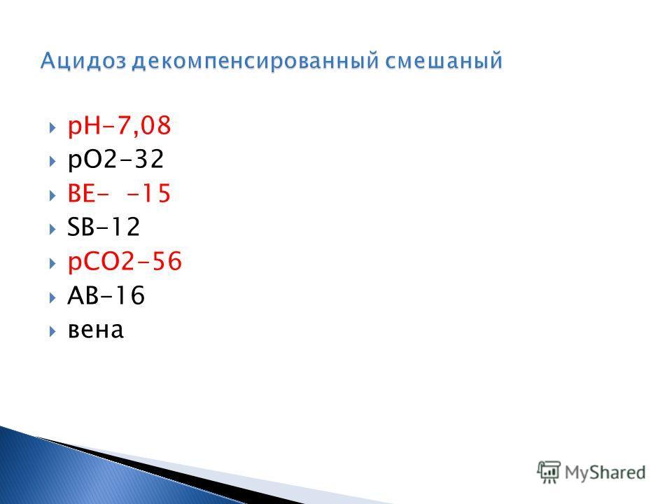 рН-7,08 рО2-32 ВЕ- -15 SВ-12 рСО2-56 АВ-16 вена