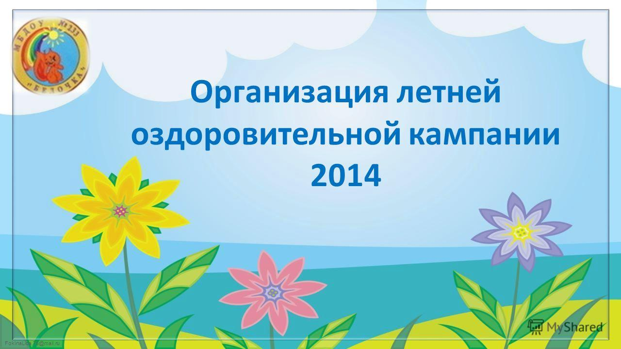 FokinaLida.75@mail.ru Организация летней оздоровительной кампании 2014