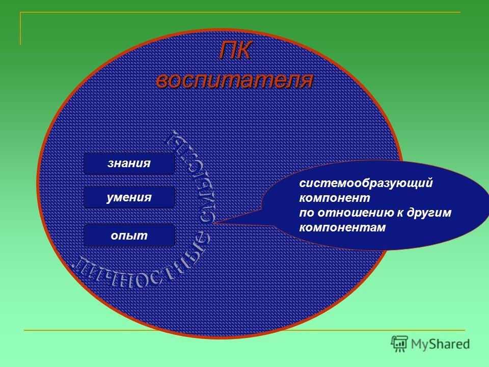 ПКвоспитателя знания умения опыт системообразующий компонент по отношению к другим компонентам