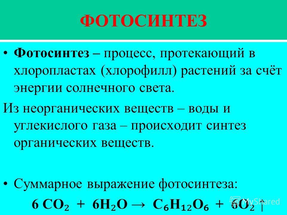 ФОТОСИНТЕЗ Фотосинтез – процесс, протекающий в хлоропластах (хлорофилл) растений за счёт энергии солнечного света. Из неорганических веществ – воды и углекислого газа – происходит синтез органических веществ. Суммарное выражение фотосинтеза: 6 СО + 6