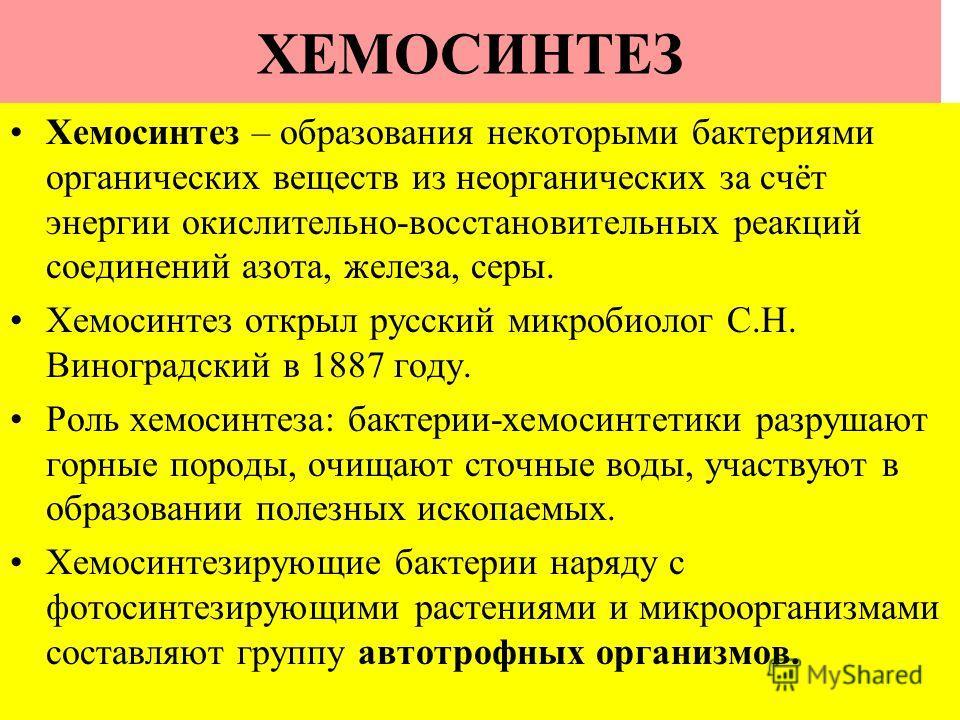 ХЕМОСИНТЕЗ Хемосинтез – образования некоторыми бактериями органических веществ из неорганических за счёт энергии окислительно-восстановительных реакций соединений азота, железа, серы. Хемосинтез открыл русский микробиолог С.Н. Виноградский в 1887 год