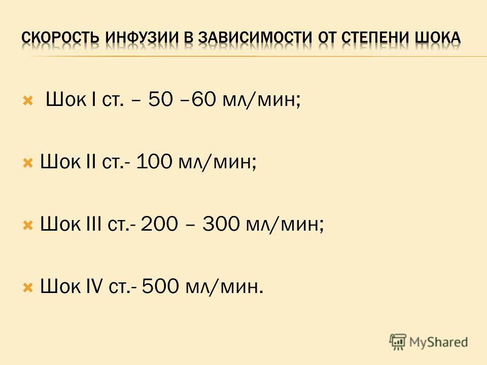 Шок I ст. – 50 –60 мл/мин; Шок II ст.- 100 мл/мин; Шок III ст.- 200 – 300 мл/мин; Шок IV ст.- 500 мл/мин.
