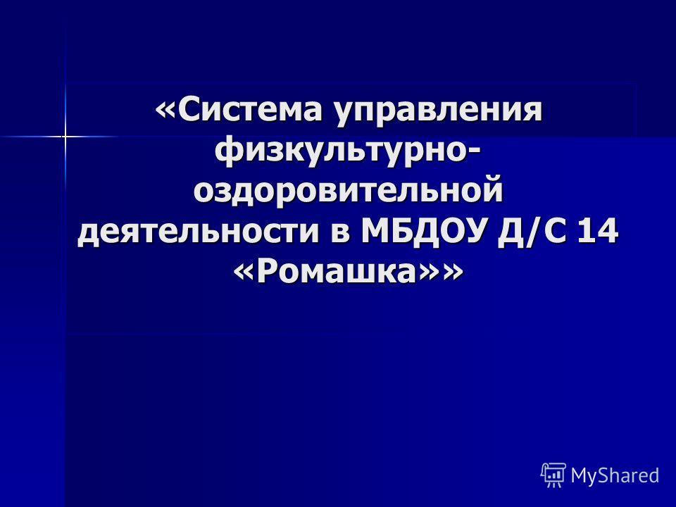 «Система управления физкультурно- оздоровительной деятельности в МБДОУ Д/С 14 «Ромашка»»