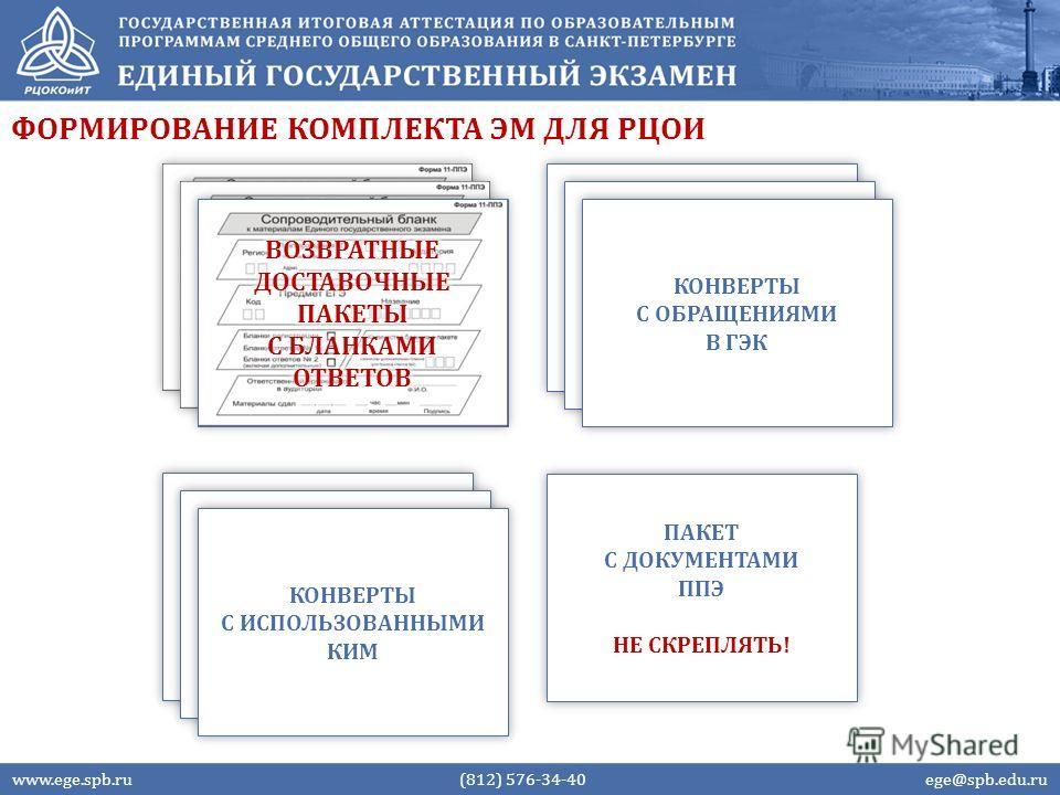 ФОРМИРОВАНИЕ КОМПЛЕКТА ЭМ ДЛЯ РЦОИ www.ege.spb.ru (812) 576-34-40 ege@spb.edu.ru КОНВЕРТЫ С ИСПОЛЬЗОВАННЫМИ КИМ КОНВЕРТЫ С ОБРАЩЕНИЯМИ В ГЭК ПАКЕТ С ДОКУМЕНТАМИ ППЭ НЕ СКРЕПЛЯТЬ! ПАКЕТ С ДОКУМЕНТАМИ ППЭ НЕ СКРЕПЛЯТЬ!