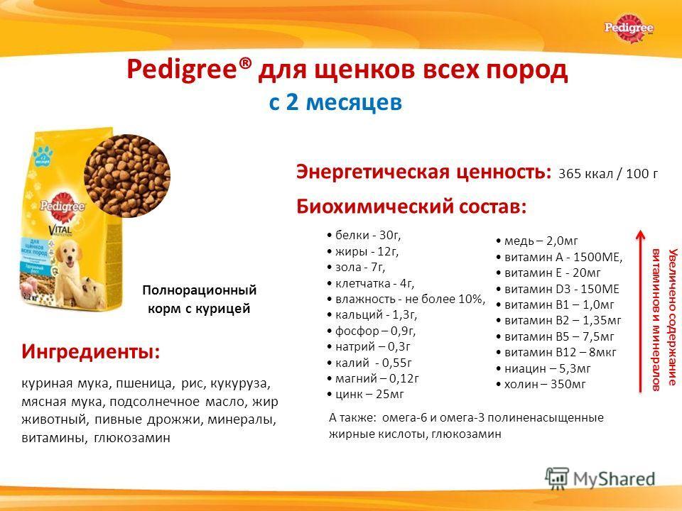Энергетическая ценность: 365 ккал / 100 г белки - 30 г, жиры - 12 г, зола - 7 г, клетчатка - 4 г, влажность - не более 10%, кальций - 1,3 г, фосфор – 0,9 г, натрий – 0,3 г калий - 0,55 г магний – 0,12 г цинк – 25 мг Pedigree® для щенков всех пород с
