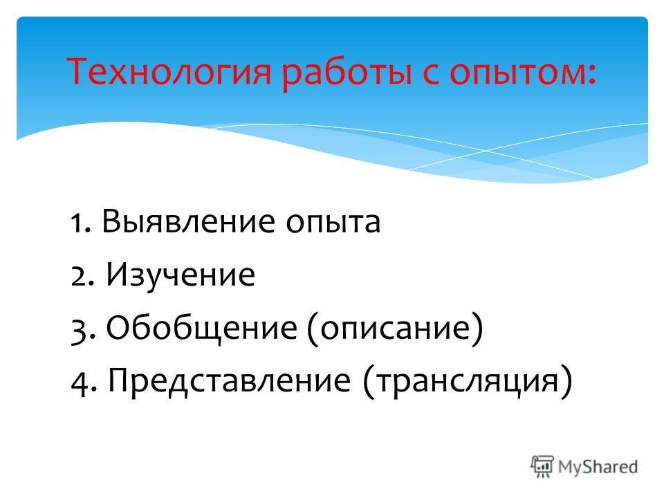 1. Выявление опыта 2. Изучение 3. Обобщение (описание) 4. Представление (трансляция) Технология работы с опытом:
