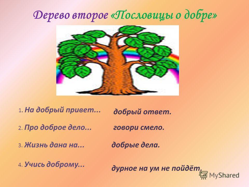 Дерево второе «Пословицы о добре» 1. На добрый привет... 2. Про доброе дело... 3. Жизнь дана на... 4. Учись доброму... добрый ответ. говори смело. добрые дела. дурное на ум не пойдёт.