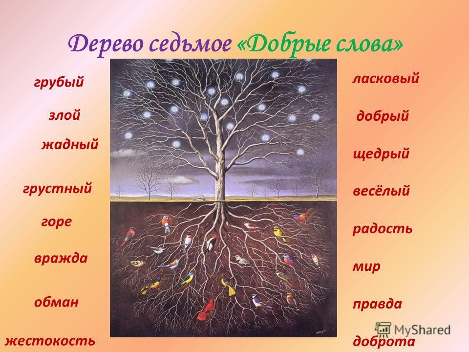 Дерево седьмое «Добрые слова» грубый злой жадный грустный горе вражда обман жестокость ласковый добрый щедрый весёлый радость мир правда доброта