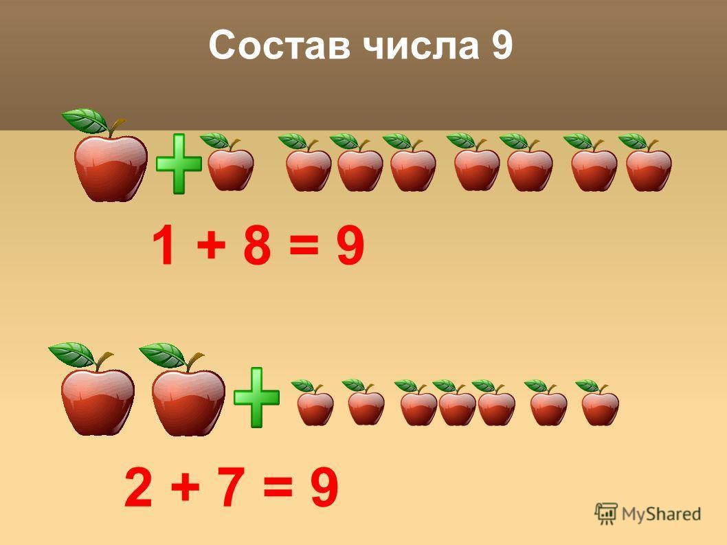 Состав числа 9 1 + 8 = 9 2 + 7 = 9