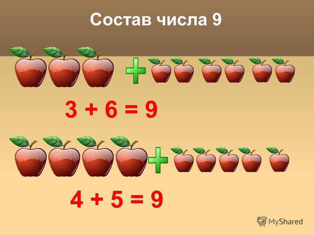 Состав числа 9 3 + 6 = 9 4 + 5 = 9