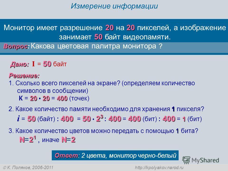 К. Поляков, 2006-2011 http://kpolyakov.narod.ru Измерение информации 2020 50 Монитор имеет разрешение 20 на 20 пикселей, а изображение занимает 50 байт видеопамяти. Вопрос Вопрос: Какова цветовая палитра монитора ? Ответ Ответ: 2 цвета, монитор черно