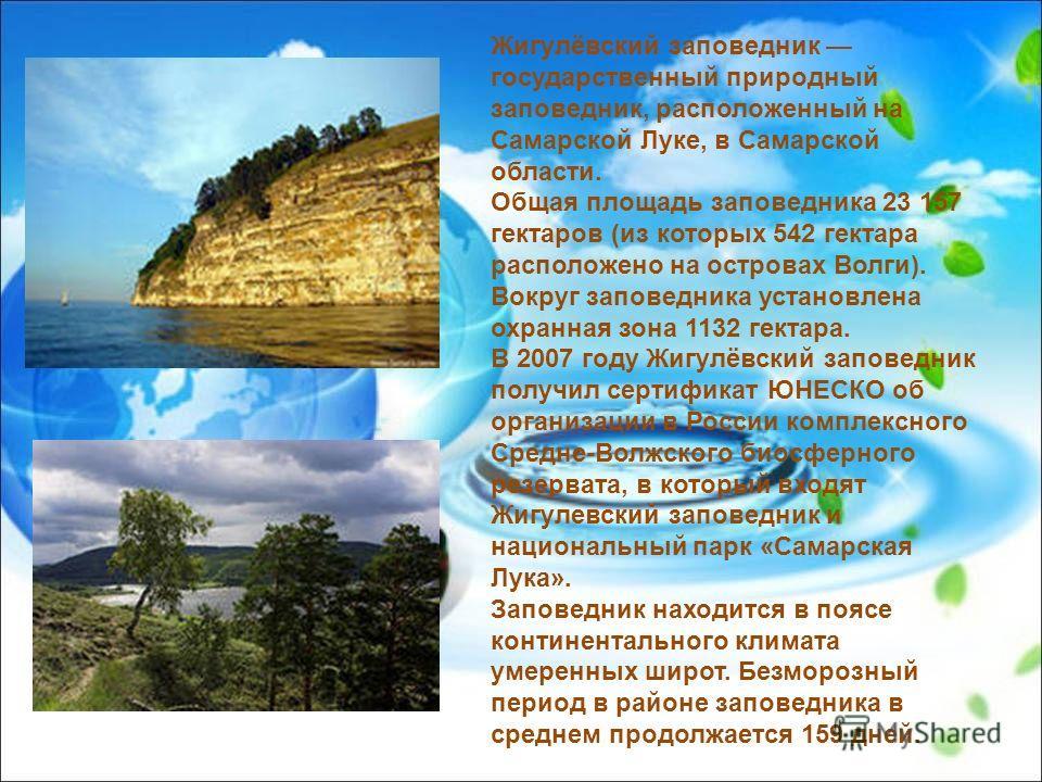 Жигулёвский заповедник государственный природный заповедник, расположенный на Самарской Луке, в Самарской области. Общая площадь заповедника 23 157 гектаров (из которых 542 гектара расположено на островах Волги). Вокруг заповедника установлена охранн
