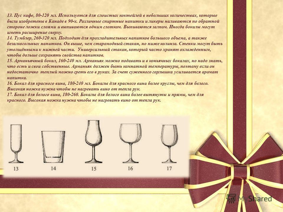 13. Пус кафе, 80-120 мл. Используется для слоистых коктейлей в небольших количествах, которые были изобретены в Канаде в 90-х. Различные спиртные напитки и ликеры наливаются по обратной стороне ложки слоями и выпиваются одним глотком. Выпиваются залп