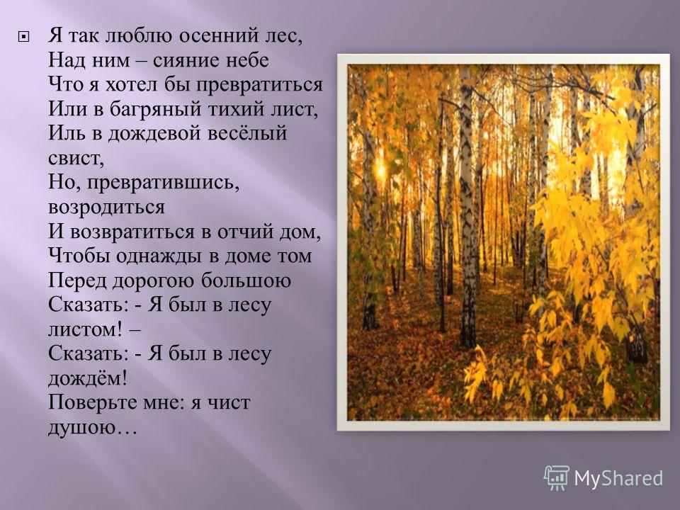 Я так люблю осенний лес, Над ним – сияние небе Что я хотел бы превратиться Или в багряный тихий лист, Иль в дождевой весёлый свист, Но, превратившись, возродиться И возвратиться в отчий дом, Чтобы однажды в доме том Перед дорогою большою Сказать : -