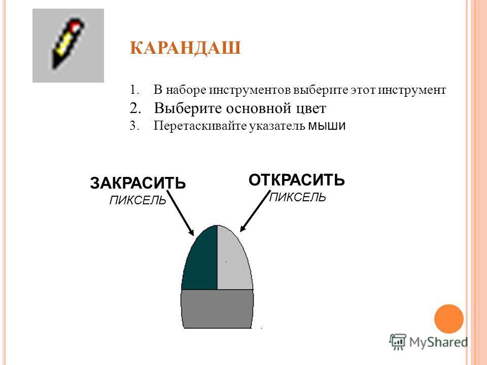 КАРАНДАШ 1. В наборе инструментов выберите этот инструмент 2. Выберите основной цвет 3. Перетаскивайте указатель мыши ОТКРАСИТЬ ПИКСЕЛЬ ЗАКРАСИТЬ ПИКСЕЛЬ