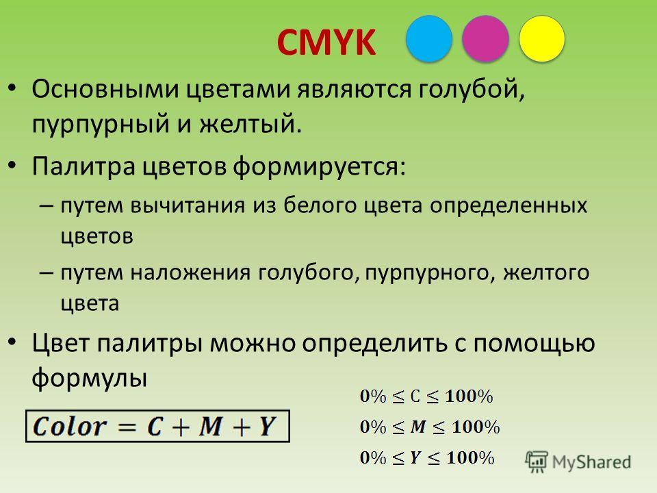 CMYK Основными цветами являются голубой, пурпурный и желтый. Палитра цветов формируется: – путем вычитания из белого цвета определенных цветов – путем наложения голубого, пурпурного, желтого цвета Цвет палитры можно определить с помощью формулы