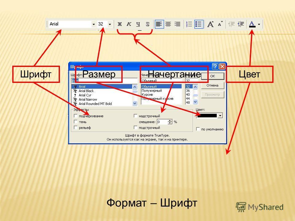 Размер НачертаниеЦвет Шрифт Формат – Шрифт
